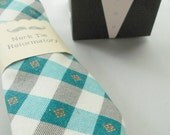 Turquoise Gingham Necktie-Handmade by The Neck Tie Reformatory