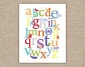 Alphabet Animals - Bright - 11x14 Archival Giclee Print