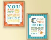 Sun and Moon Quote Print Pair - I Love You To The Moon And Back - You Are My Sunshine My Only Sunshine