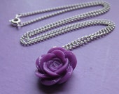Purple Rose Necklace Flower Pendant Floral Violet