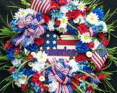 Lg. PATRIOTIC MEMORIAL Day   4th of JULY  Flag Day Wreath