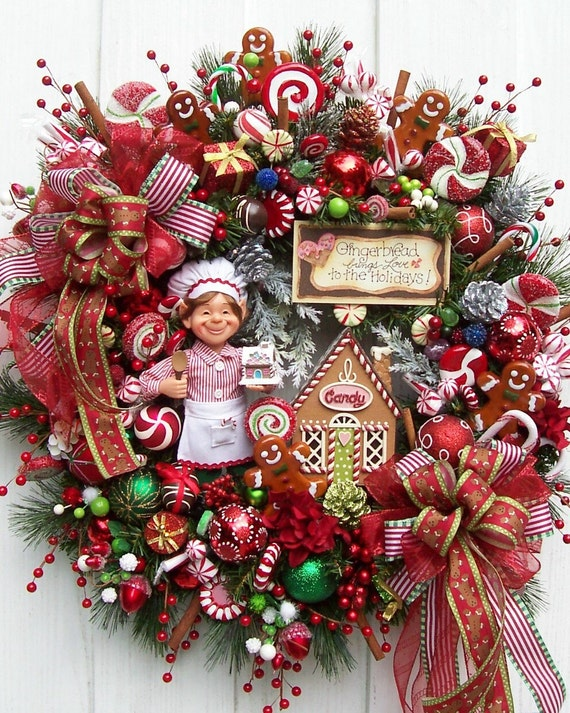 The Elf And Gingerbread Christmas Wreath