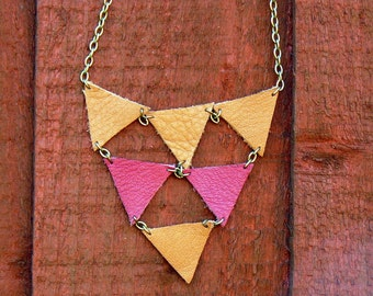 Long necklace with natural and burgundy leather triangles