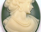 VINTAGE Green and Ivory CAMEO Cabochon Piece Portrait Large Cameo Victorian Jewelry Destash (X76)