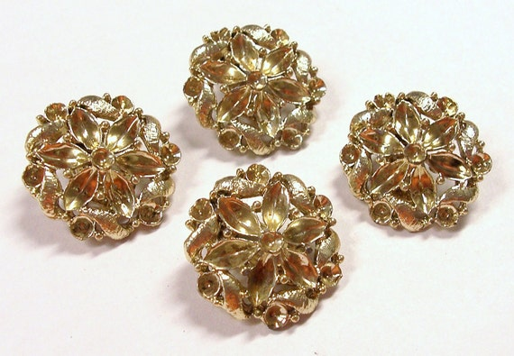VINTAGE Gold Earring BLANKS Two (2) Pairs Add Your Own Rhinestones Deco Flower Jewelry Destash (Y251)