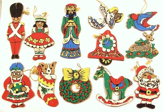 VINTAGE Wood Christmas Ornaments Hand Painted Santa Soldier Wise Man Angel Colorful Folk Art (N51)
