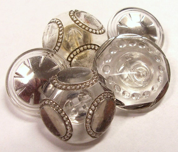 VINTAGE Buttons Clear Glass Silver LUSTER Buttons Gorgeous Deco Styles Assorted Lot Button Destash (Y160)
