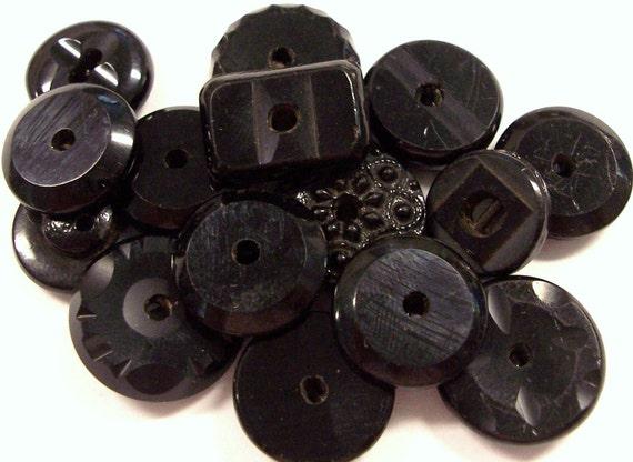 VINTAGE Black Glass BuTTONS Antique Victorian Black Glass WHISTLE Buttons Vintage Steampunk Fashion Button Destash (J79)