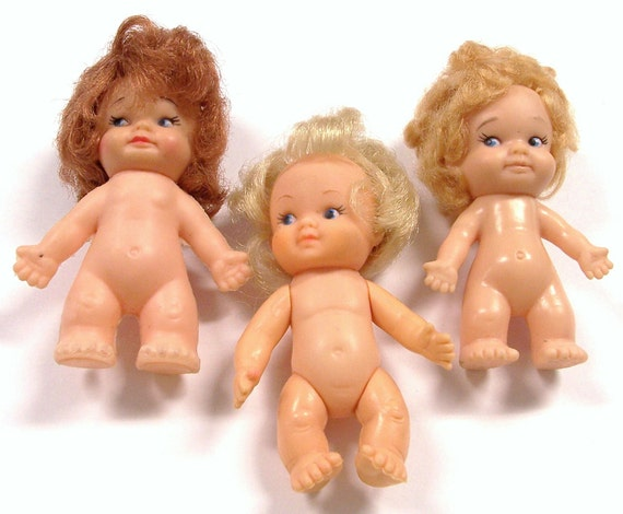 VINTAGE Dolls Three (3) Baby GIRL Dolls PeeWee 1960s Vintage Girl Toys Vintage Doll Parts Destash (J121)
