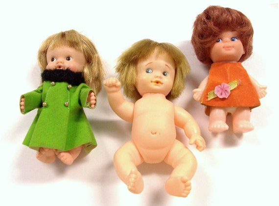 VINTAGE Dolls Three (3) Baby GIRL Dolls Baby PeeWee 1960s Vintage Girl Toys Vintage Doll Parts Destash (J122)