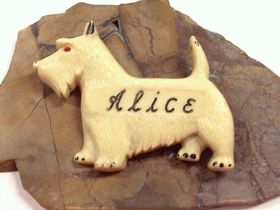 VINTAGE Pin Brooch Scottie DOG Cream Colored Alice Vintage Scottie Pin Scotty Dog Ready to Wear Jewelry Destash (J139)