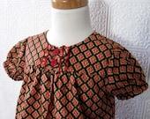 Girls Shirt, girls tops, red, orange, black, Fall, Autumn, girls tunic, 3t, 4t, 5t, 6, 7/8