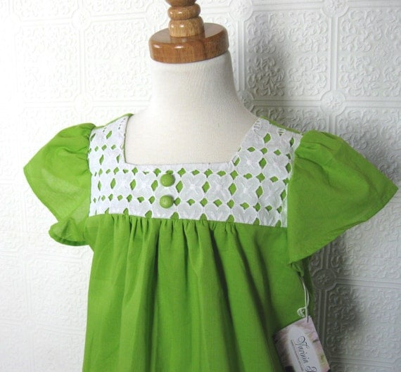 Girls Dress, Lime, Chartreuse, tunic, green,  St. Patrick's Day, spring dress, easter dress, 4t ready to ship