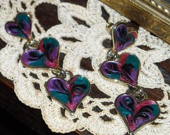 80s Enameled Dangle Heart Earrings