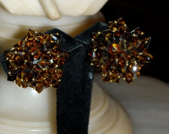 1940s Bronze Crystal Cluster Earrings- Gorgeous