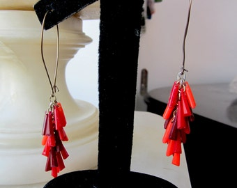 1930s Dangling Burgundy, Red & Coral Celluloid Bar Earrings.