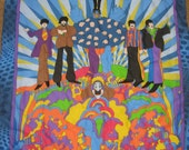 Beatles Yellow Submarine All You Need Is Love Baby Blanket with Yellow hidden stitching