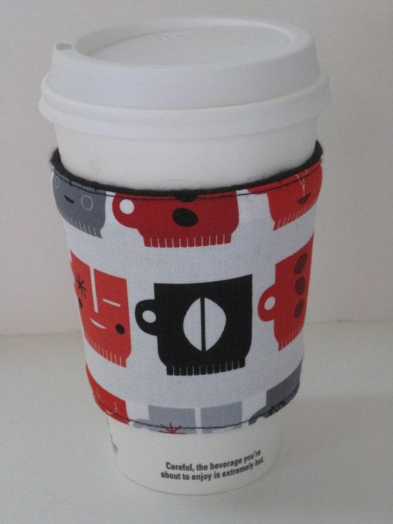 Coffee Cup Cozy - Red & Black Retro Cafe