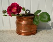 Heavy gauge small solid copper pot HAND forged Wall decor INDUSTRIAL