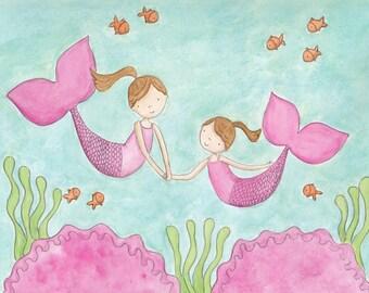 Mermaid Sisters- Brunettes-8X10 Print
