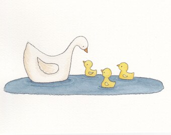 Mommy and Ducklings 5x7 Print