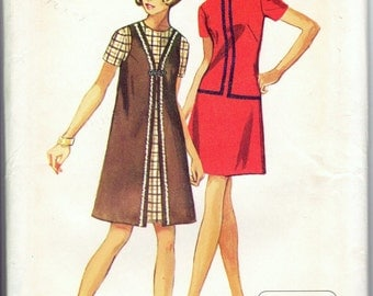70s Simplicity 8910 Bust 34 Size 12 Mod Mini Dress with Round Neckline and V Neck Vest Coat Braid Trim Jiffy Easy