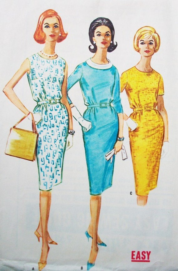 1960s McCall's Bust 32 Size 12  5921 Sewing Pattern Proportioned Wiggle Dress Tall Petite Sleeveless, Short Three Quarter Sleeves Mad Men
