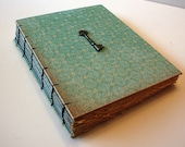 Large Aqua Heirloom  Journal with Vintage Skeleton Key Handmade