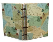 Handmade Journal with Vintage Inspired Papers Postcards