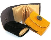 Tiny Trio of Leather Journals with Vintage Buttons