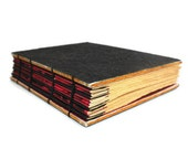 Handmade Coptic Journal with Black Textured Paper