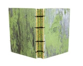 Green Handmade Journal with Rustic Barn Wood Flair