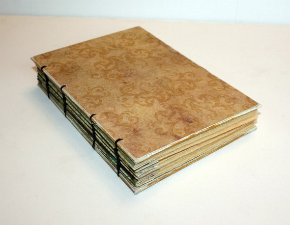 Handmade Coptic Bound Journal with Vintage Inspired Papers