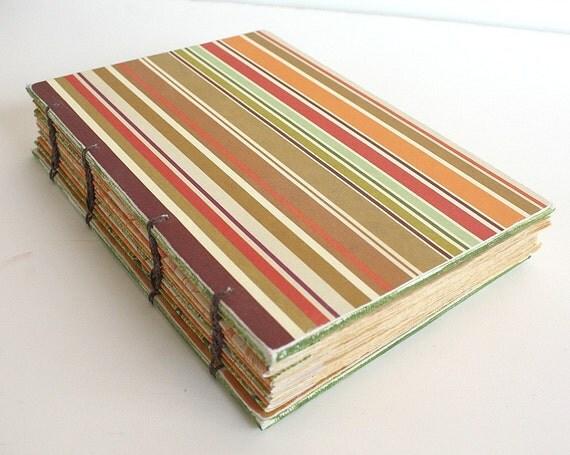 Fall Stripes Coptic Bound Journal