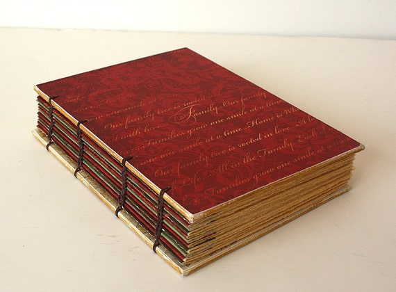 Red Coptic Bound Journal with Vintage Inspired Papers