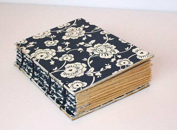 Handmade Navy Blue Floral Coptic Journal