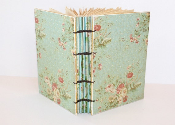 Aqua Floral Coptic Bound Journal
