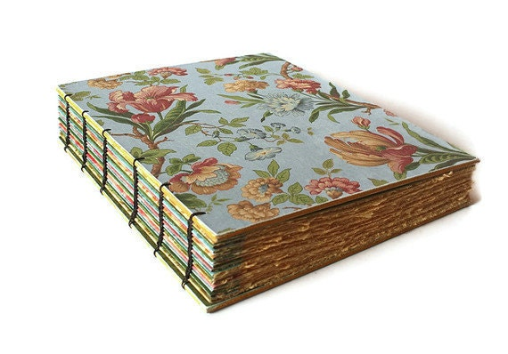 Baby Blue Floral  Large Heirloom Coptic Bound Journal