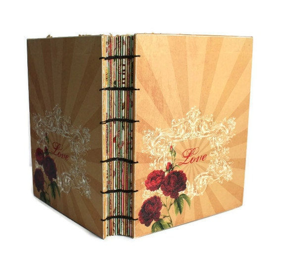 Love  Heirloom Guest Book with Coptic Binding