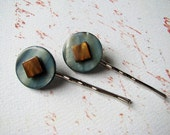 Shell Bead Bobby Pins in Blue and Brown