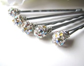 Bridal Rhinestone Hair Pins Set, Czech Crystal AB