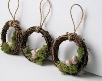 Rustic Twig Wreath Ornaments with Mossy Nests, Set of 3