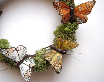Woodland Butterfly Wreath with Moss
