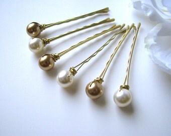 Gold and Ivory Hair Pin Pearl Set Swarovski