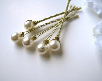 Cream Ivory Pearl Hair Pin Set Swarovski 10mm