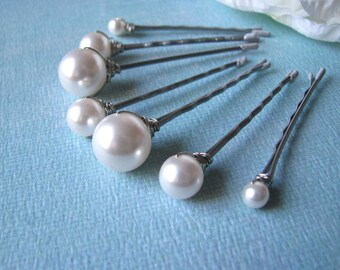 White Pearl Hair Pin Set of 7 in Mixed Sizes