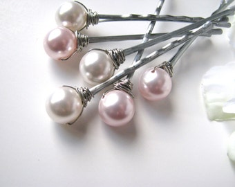 Pink and White Hair Pearl Pins Wedding Set