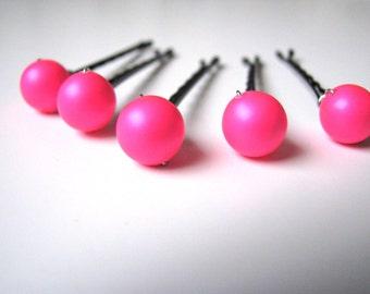 Neon Pink Hair Pins