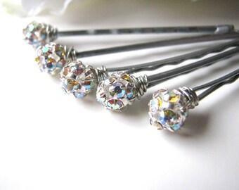 Bridal Rhinestone Hair Pins Set, Czech Crystal AB