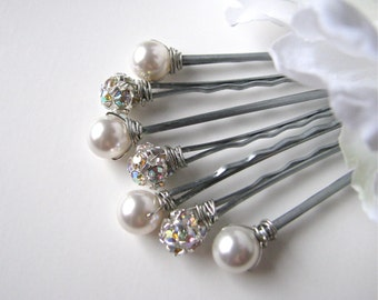 Pearl and Rhinestone Hair Pins - White and AB or Clear, Classic Elegance Set of 7